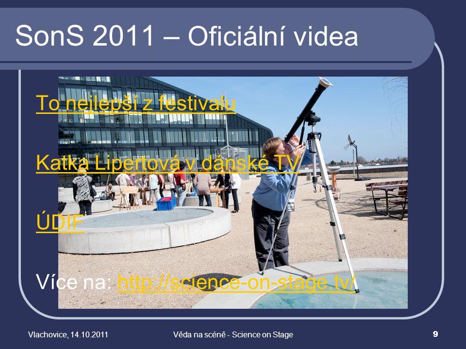 Vlachovice, 14.10.2011Věda na scéně - Science on Stage 10 Budoucnost Vědy na scéně SonS 3: Posouvání hranic ve výuce přírodovědných předmětů 25.-28.4.2013 Collegium Polonicum, Słubice/Frankfurt(Oder) očekává se >350 učitelů z 27 zemí BUĎTE PŘI TOM!