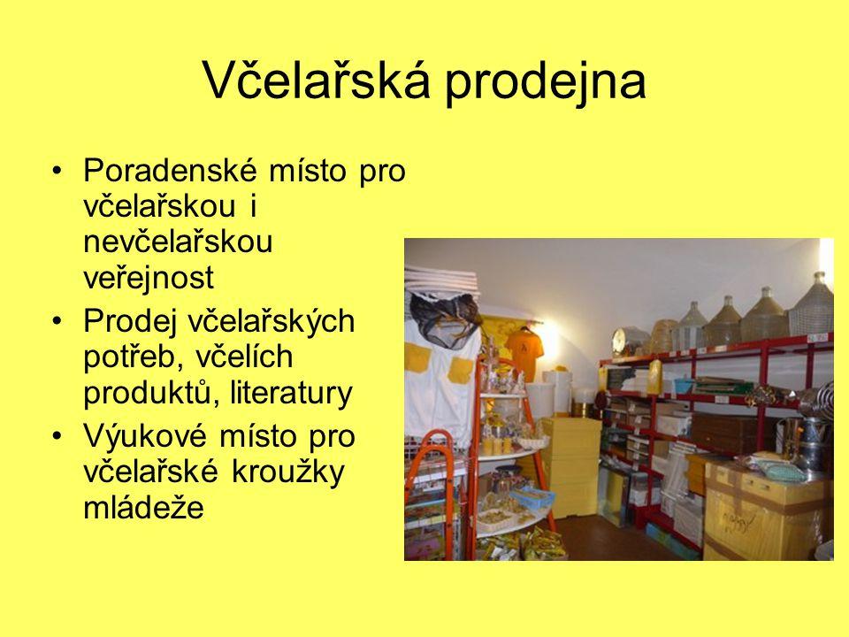 Včelařská prodejna Poradenské místo pro včelařskou i nevčelařskou veřejnost Prodej včelařských potřeb, včelích produktů, literatury Výukové místo pro včelařské kroužky mládeže