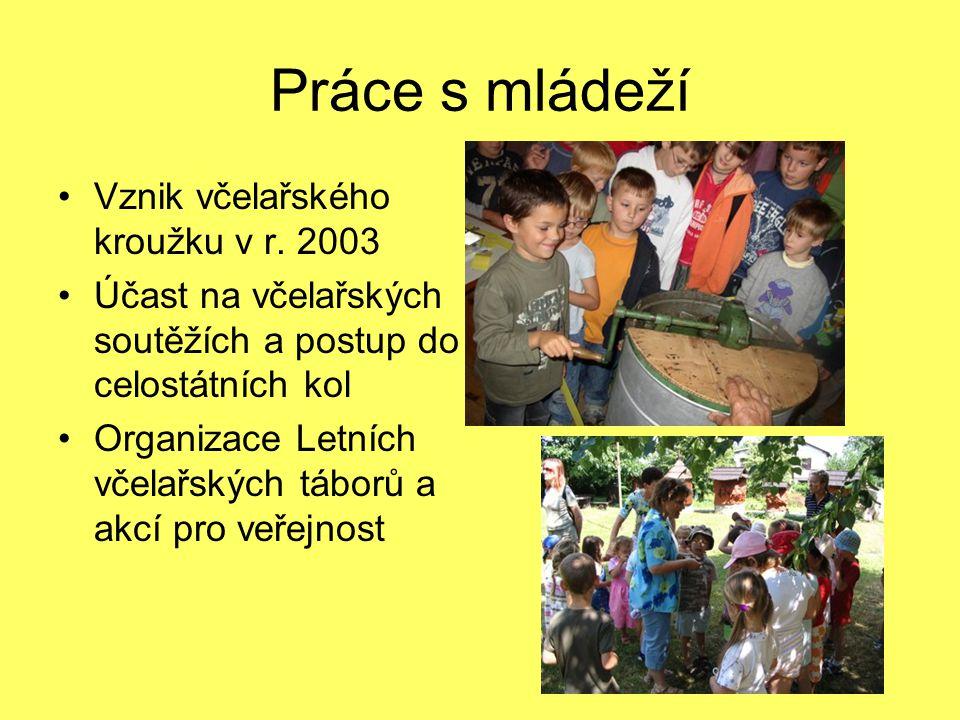 Práce s mládeží Vznik včelařského kroužku v r. 2003 Účast na včelařských soutěžích a postup do celostátních kol Organizace Letních včelařských táborů