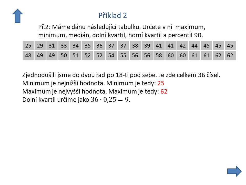 Příklad 2 Př.2: Máme dánu následující tabulku.