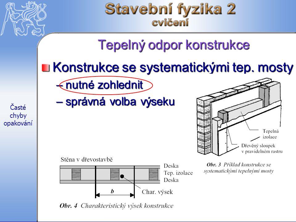 Časté chyby opakování Tepelný odpor konstrukce Konstrukce se systematickými tep.