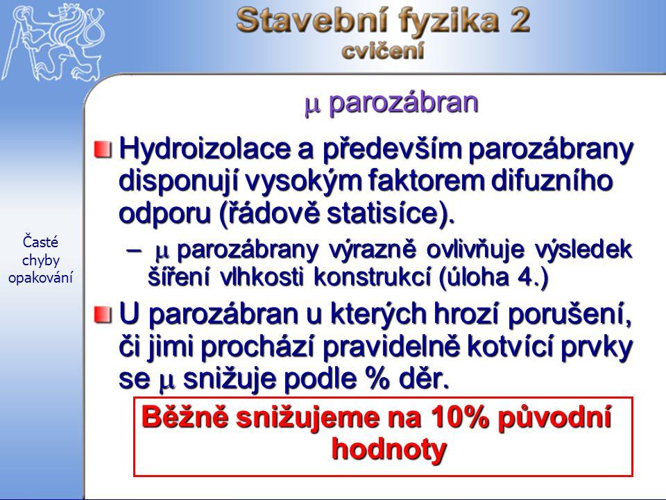 Časté chyby opakování  parozábran Hydroizolace a především parozábrany disponují vysokým faktorem difuzního odporu (řádově statisíce).