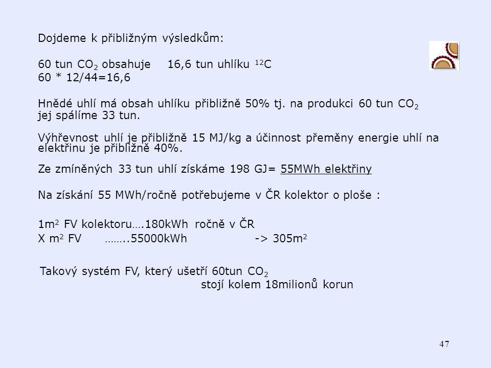 46 lze si to nechat online spočítat http://re.jrc.cec.eu.int/pvgis/pvestframe.php en&europe Tedy předpokládejme: Klima ČR, křemíkové FV, náhrada uhelné elektrárny =energetické hnědé uhlí 20MJkg -1 FV elektrárna s články z krystalického křemíku umístěná v ČR získá za rok přibližně 0,2MWh