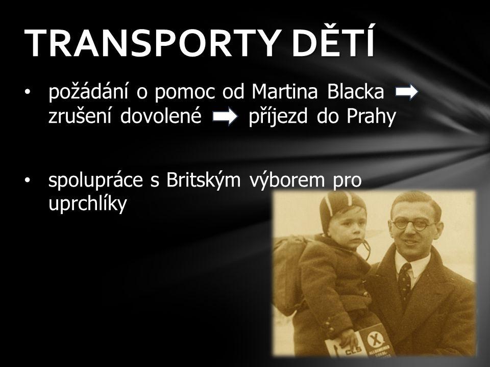 požádání o pomoc od Martina Blacka zrušení dovolené příjezd do Prahy spolupráce s Britským výborem pro uprchlíky TRANSPORTY DĚTÍ
