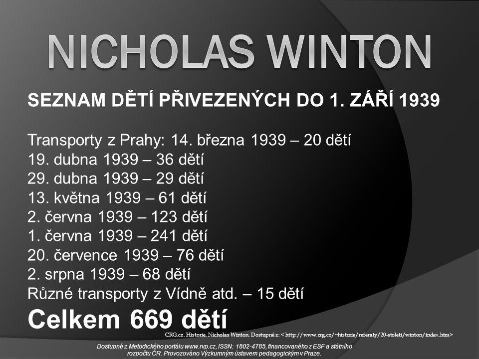 SEZNAM DĚTÍ PŘIVEZENÝCH DO 1. ZÁŘÍ 1939 Transporty z Prahy: 14. března 1939 – 20 dětí 19. dubna 1939 – 36 dětí 29. dubna 1939 – 29 dětí 13. května 193