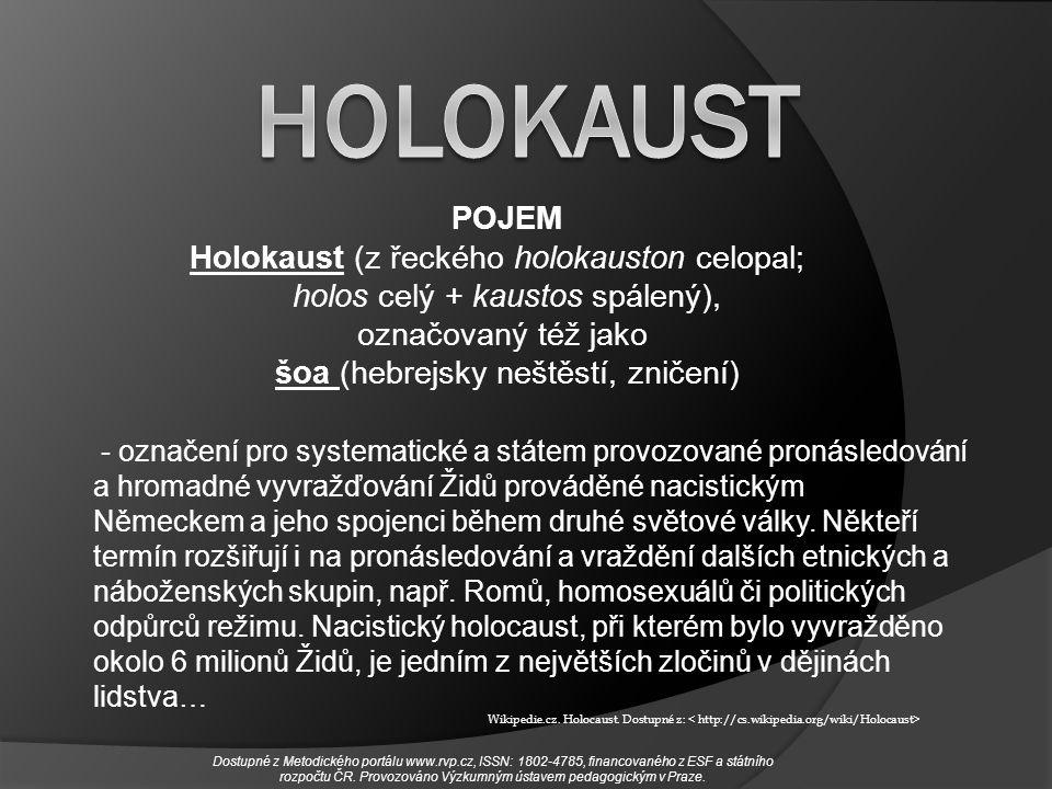 - označení pro systematické a státem provozované pronásledování a hromadné vyvražďování Židů prováděné nacistickým Německem a jeho spojenci během druh