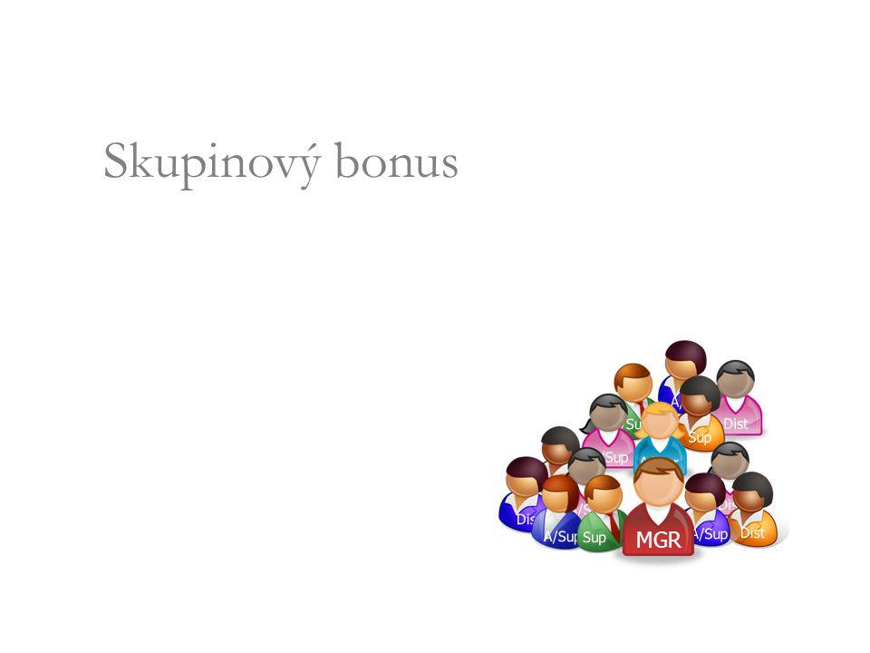 Skupinový bonus Group Volume Bonus 5%5% 13 % 8%8% A/Sup Dist A/Sup Sup A/Sup A/Mgr Dist A/Sup Dist A/Sup Sup Dist A/Sup MGR