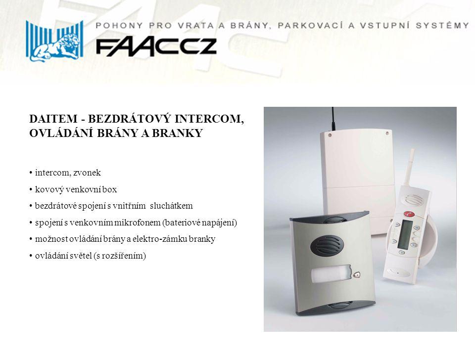 DAITEM - BEZDRÁTOVÝ INTERCOM, OVLÁDÁNÍ BRÁNY A BRANKY intercom, zvonek kovový venkovní box bezdrátové spojení s vnitřním sluchátkem spojení s venkovní