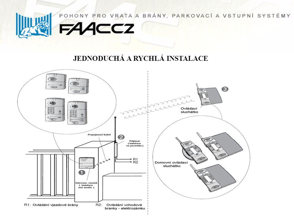 SESTAVA Venkovní intercom s kovovým krytem, zvonkem, kódovou klávesnicí a čtečkou čipů Venkovní přijímač s možností bateriového napájení Přenosné sluchátko s možností ovládání vstupní branky a vjezdové brány