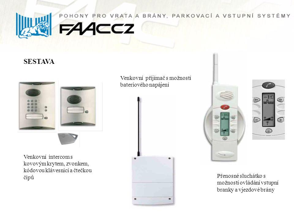 SESTAVA Venkovní intercom s kovovým krytem, zvonkem, kódovou klávesnicí a čtečkou čipů Venkovní přijímač s možností bateriového napájení Přenosné sluc