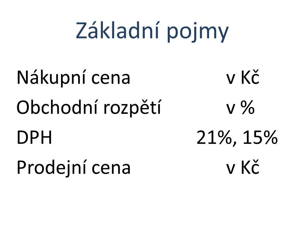Nákupní cenav Kč Obchodní rozpětív % DPH21%, 15% Prodejní cenav Kč Základní pojmy