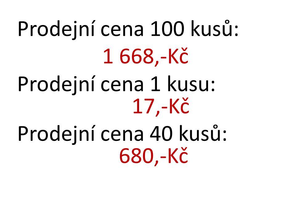 Prodejní cena 100 kusů: 1 668,-Kč Prodejní cena 1 kusu: 17,-Kč Prodejní cena 40 kusů: 680,-Kč