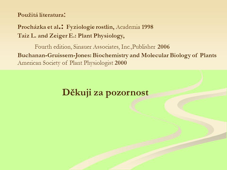 Děkuji za pozornost Použitá literatura : Procházka et al.: Fyziologie rostlin, Academia 1998 Taiz L.
