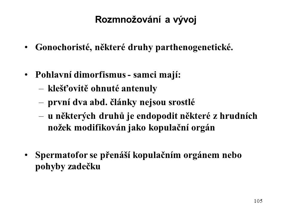 105 Rozmnožování a vývoj Gonochoristé, některé druhy parthenogenetické.