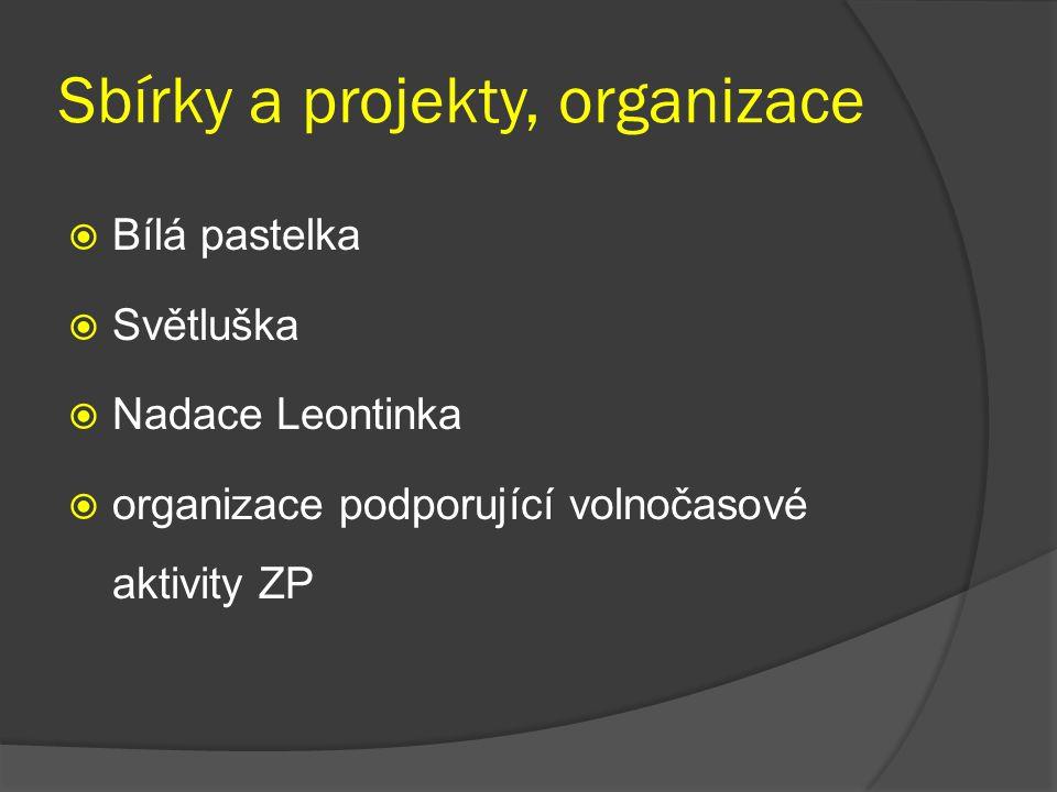 Sbírky a projekty, organizace  Bílá pastelka  Světluška  Nadace Leontinka  organizace podporující volnočasové aktivity ZP