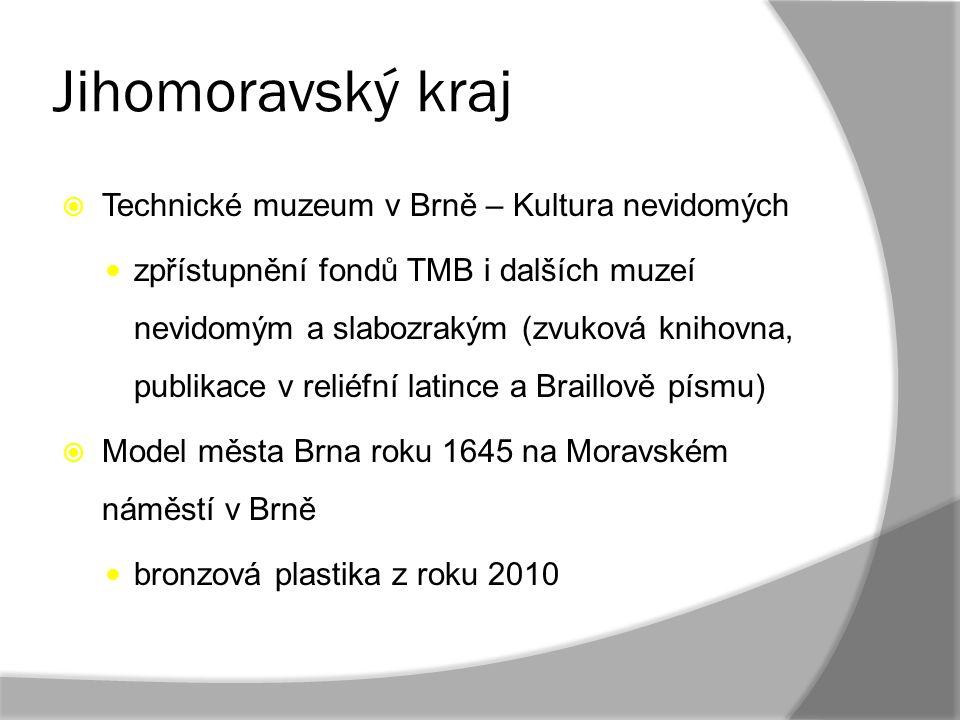Jihomoravský kraj  Technické muzeum v Brně – Kultura nevidomých zpřístupnění fondů TMB i dalších muzeí nevidomým a slabozrakým (zvuková knihovna, pub