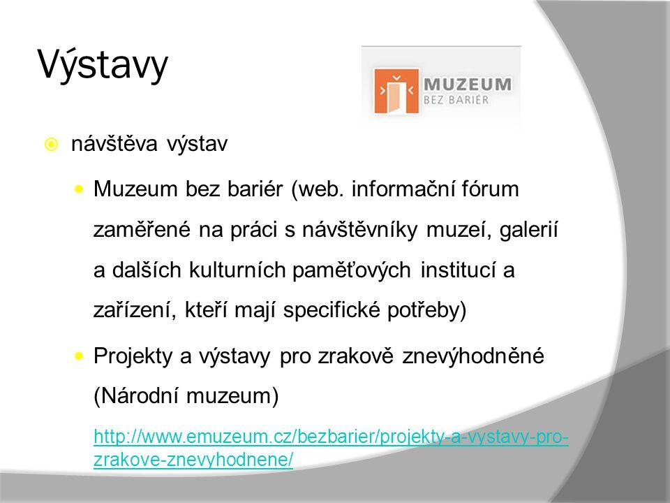 Výstavy  návštěva výstav Muzeum bez bariér (web. informační fórum zaměřené na práci s návštěvníky muzeí, galerií a dalších kulturních paměťových inst