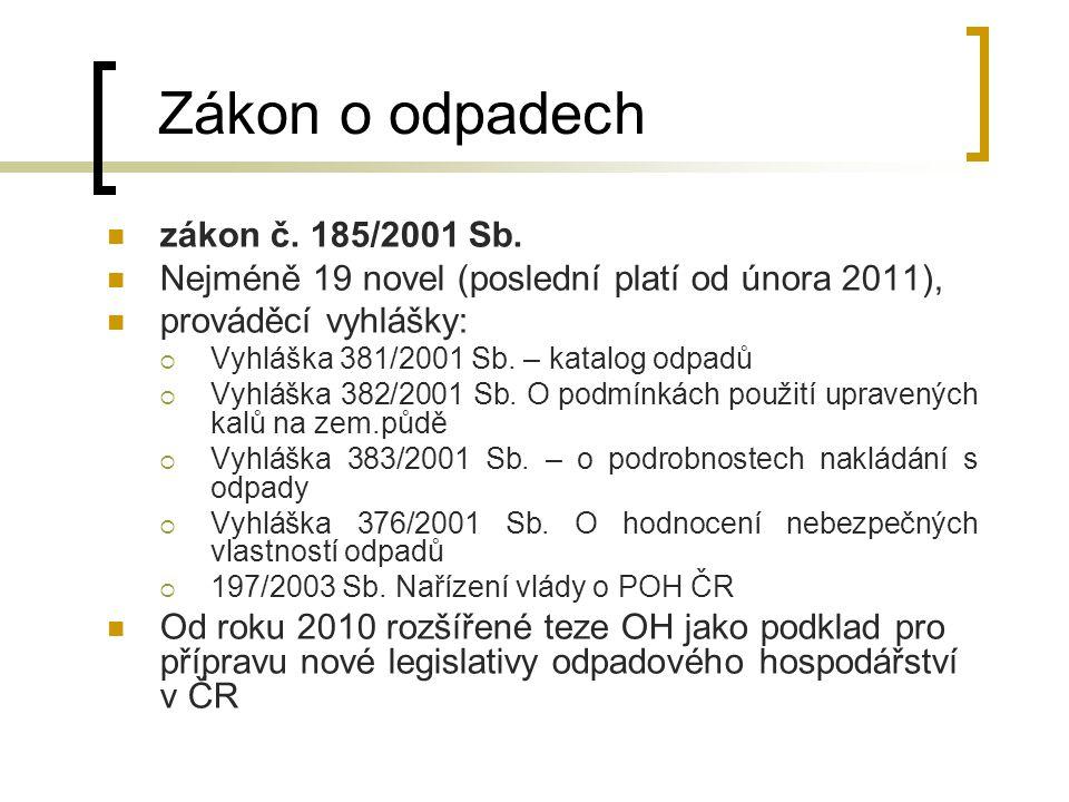 Plán odpadového hospodářství klíčový dokument v oblasti odpadového hospodářství v současné době je platný Plán odpadového hospodářství České republiky (POH ČR) na roky 2003 – 2013, který byl v souladu se zákonem o odpadech vydán formou nařízení vlády (http://www.mzp.cz/cz/plan_odpadoveho_hospodarstvi)http://www.mzp.cz/cz/plan_odpadoveho_hospodarstvi  obsahuje klíčové problémy  vyjadřuje cíle pro různé způsoby nakládání s odpady a optimální způsoby a nástroje pro jejich dosažení.