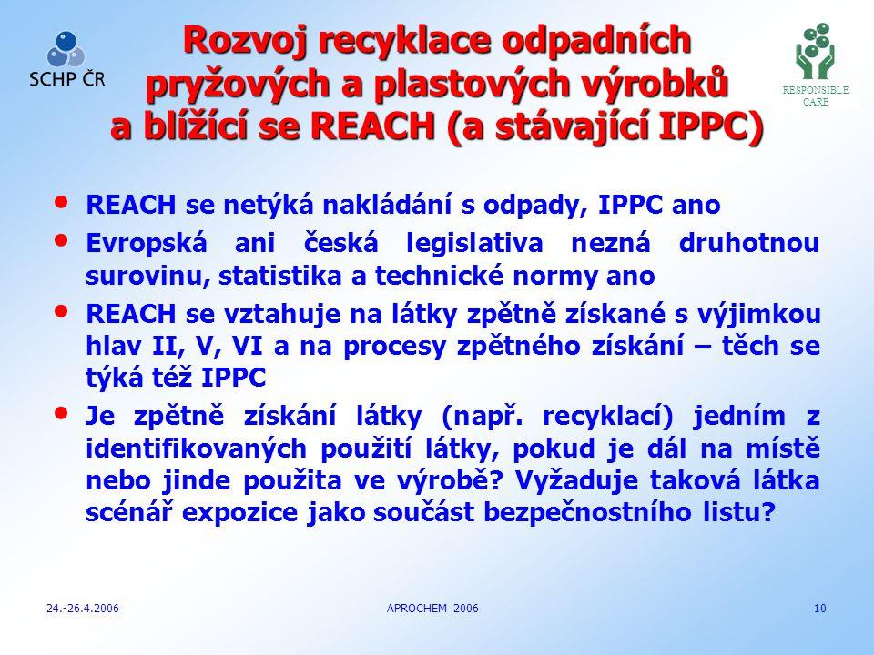 Rozvoj recyklace odpadních pryžových a plastových výrobků a blížící se REACH (a stávající IPPC) REACH se netýká nakládání s odpady, IPPC ano Evropská ani česká legislativa nezná druhotnou surovinu, statistika a technické normy ano REACH se vztahuje na látky zpětně získané s výjimkou hlav II, V, VI a na procesy zpětného získání – těch se týká též IPPC Je zpětně získání látky (např.