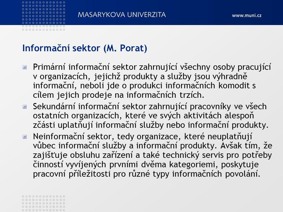 Informační sektor (M. Porat) Primární informační sektor zahrnující všechny osoby pracující v organizacích, jejichž produkty a služby jsou výhradně inf