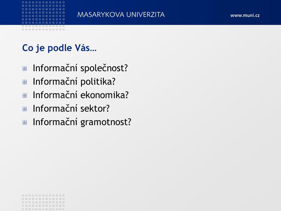 Co je podle Vás… Informační společnost? Informační politika? Informační ekonomika? Informační sektor? Informační gramotnost?