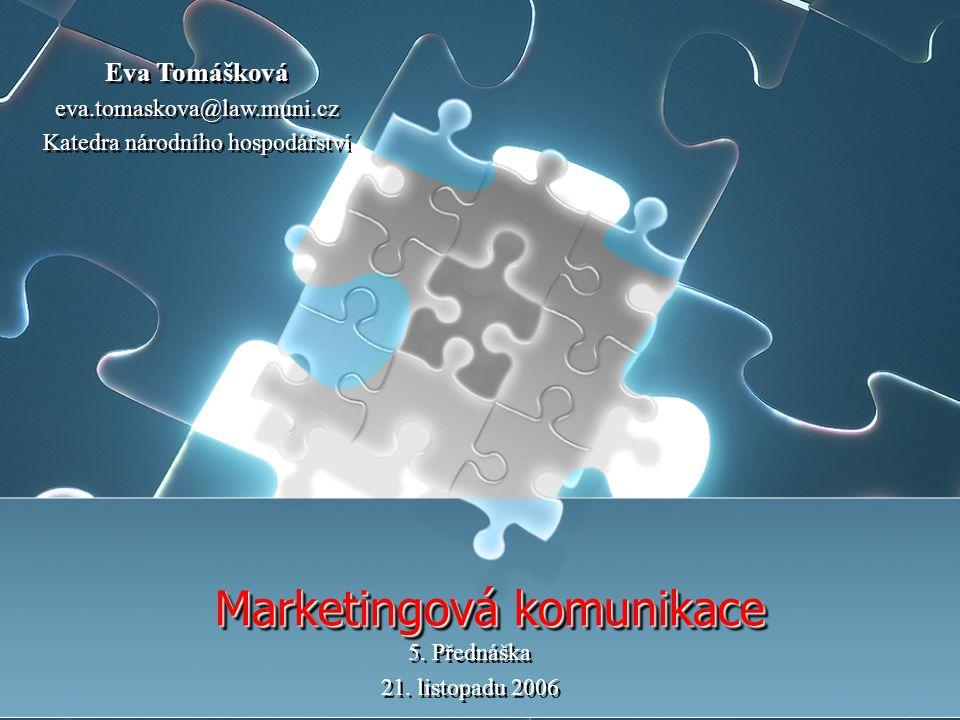 Marketingová komunikace 5.Přednáška 21. listopadu 2006 5.