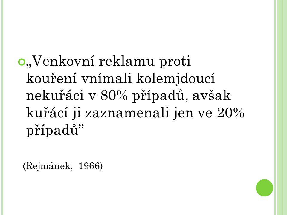 """""""Venkovní reklamu proti kouření vnímali kolemjdoucí nekuřáci v 80% případů, avšak kuřácí ji zaznamenali jen ve 20% případů (Rejmánek, 1966)"""