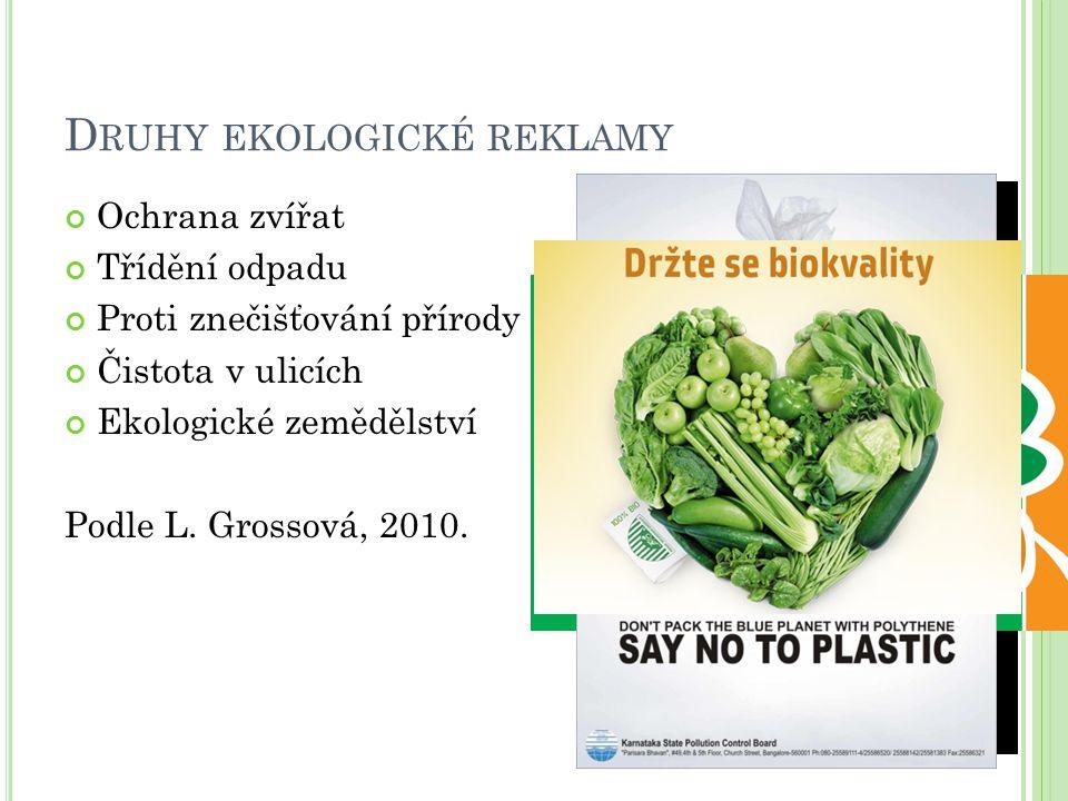 D RUHY EKOLOGICKÉ REKLAMY Ochrana zvířat Třídění odpadu Proti znečišťování přírody Čistota v ulicích Ekologické zemědělství Podle L. Grossová, 2010.