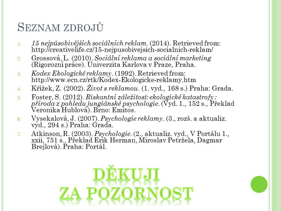 S EZNAM ZDROJŮ 1. 15 nejpůsobivějších sociálních reklam. (2014). Retrieved from: http://creativelife.cz/15-nejpusobivejsich-socialnich-reklam/ 2. Gros