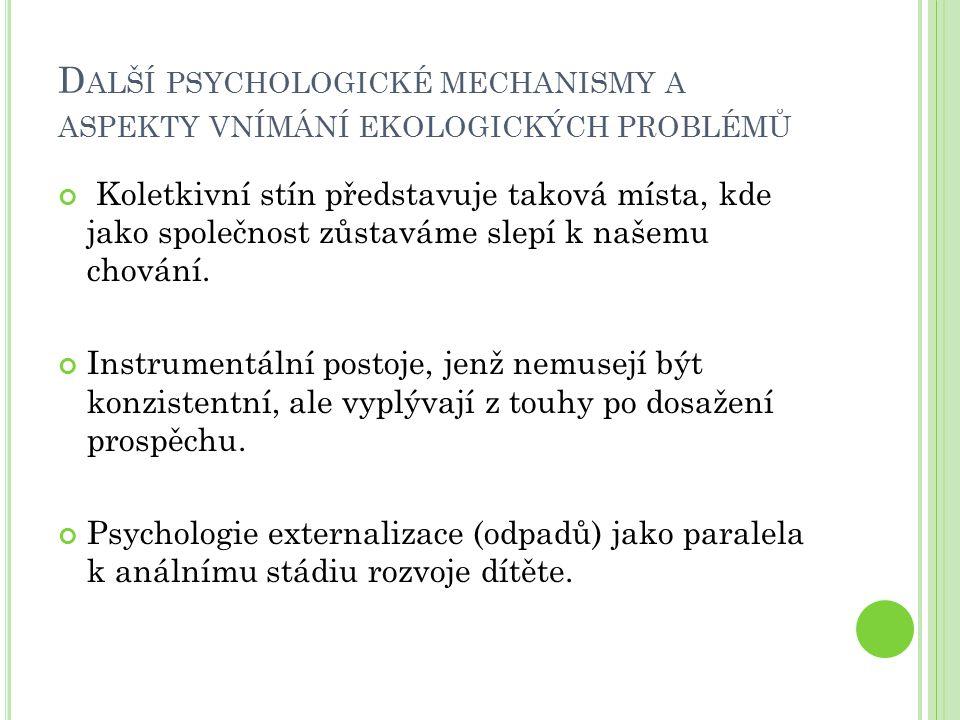 D ALŠÍ PSYCHOLOGICKÉ MECHANISMY A ASPEKTY VNÍMÁNÍ EKOLOGICKÝCH PROBLÉMŮ Koletkivní stín představuje taková místa, kde jako společnost zůstaváme slepí