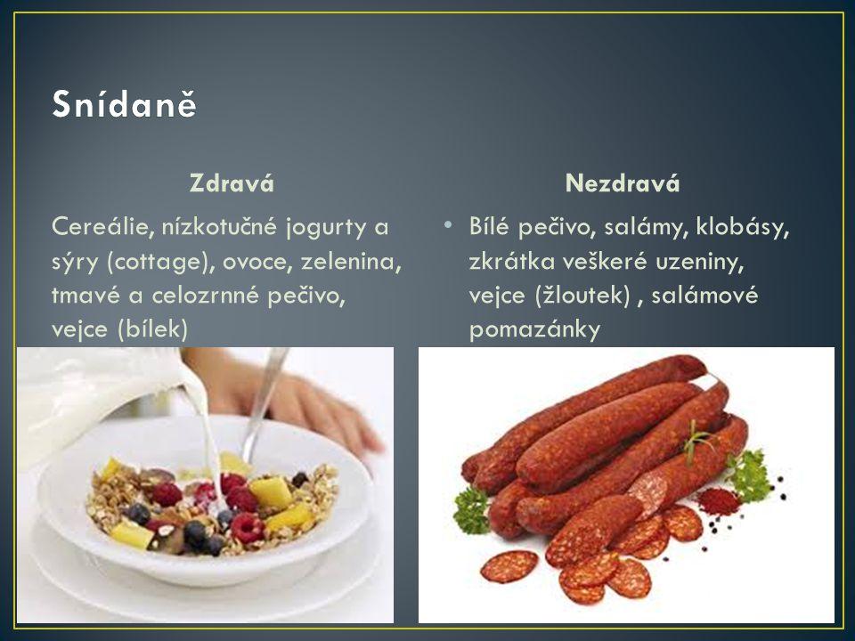 Zdravá Cereálie, nízkotučné jogurty a sýry (cottage), ovoce, zelenina, tmavé a celozrnné pečivo, vejce (bílek) Nezdravá Bílé pečivo, salámy, klobásy,