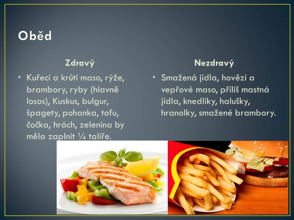 Zdravý Kuřecí a krůtí maso, rýže, brambory, ryby (hlavně losos), Kuskus, bulgur, špagety, pohanka, tofu, čočka, hrách, zelenina by měla zaplnit ¼ talí