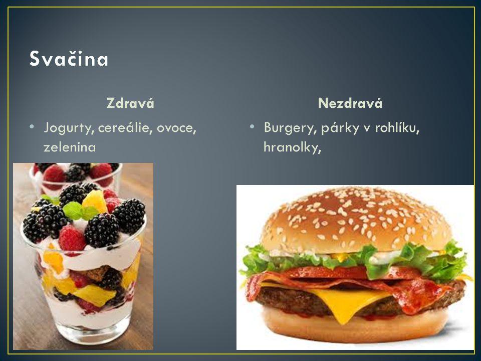Zdravá Jogurty, cereálie, ovoce, zelenina Nezdravá Burgery, párky v rohlíku, hranolky,