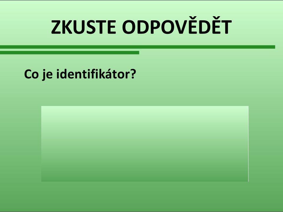 ZKUSTE ODPOVĚDĚT Co je identifikátor. Identifikátor je proměnná, konstanta, třída atd.