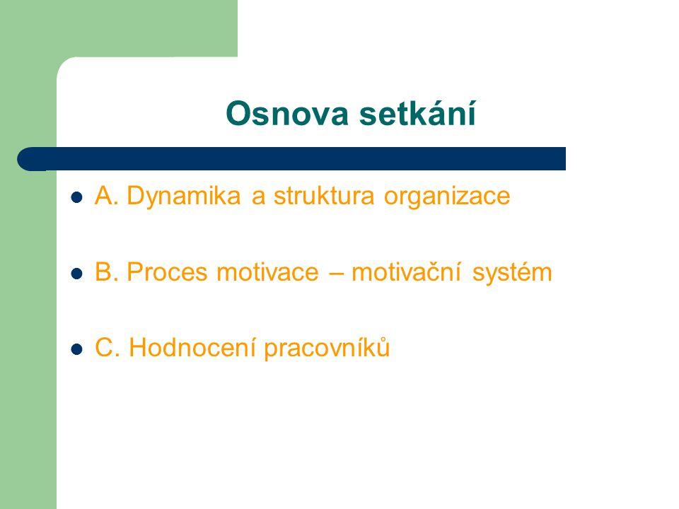 Osnova setkání A. Dynamika a struktura organizace B. Proces motivace – motivační systém C. Hodnocení pracovníků