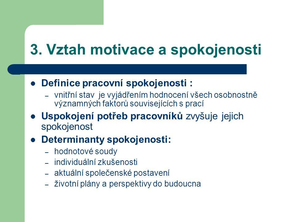 3. Vztah motivace a spokojenosti Definice pracovní spokojenosti : – vnitřní stav je vyjádřením hodnocení všech osobnostně významných faktorů souvisejí