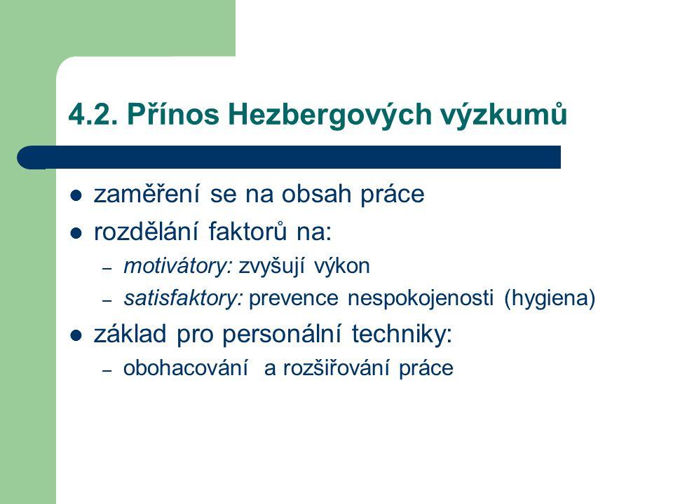 4.2. Přínos Hezbergových výzkumů zaměření se na obsah práce rozdělání faktorů na: – motivátory: zvyšují výkon – satisfaktory: prevence nespokojenosti