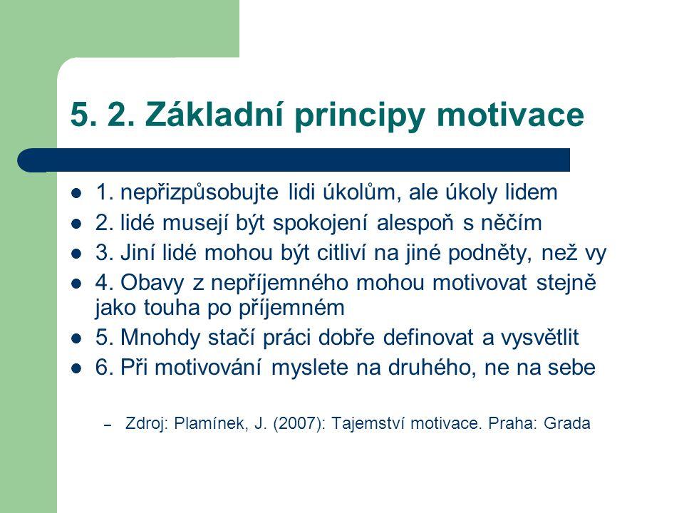 5. 2. Základní principy motivace 1. nepřizpůsobujte lidi úkolům, ale úkoly lidem 2. lidé musejí být spokojení alespoň s něčím 3. Jiní lidé mohou být c