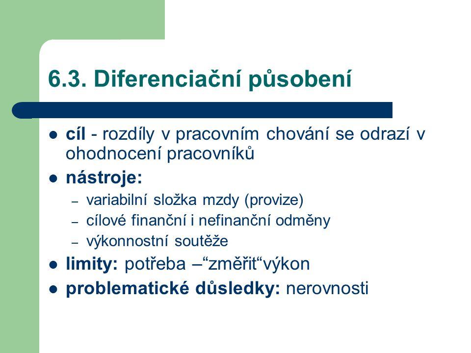 6.3. Diferenciační působení cíl - rozdíly v pracovním chování se odrazí v ohodnocení pracovníků nástroje: – variabilní složka mzdy (provize) – cílové