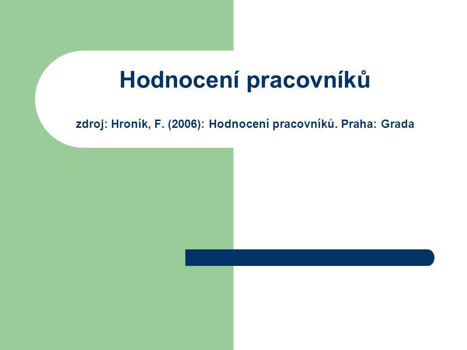 Hodnocení pracovníků zdroj: Hroník, F. (2006): Hodnocení pracovníků. Praha: Grada