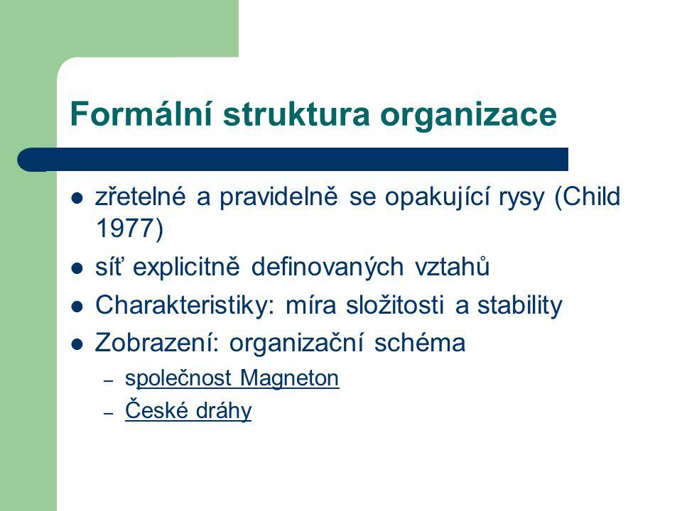 Formální struktura organizace zřetelné a pravidelně se opakující rysy (Child 1977) síť explicitně definovaných vztahů Charakteristiky: míra složitosti