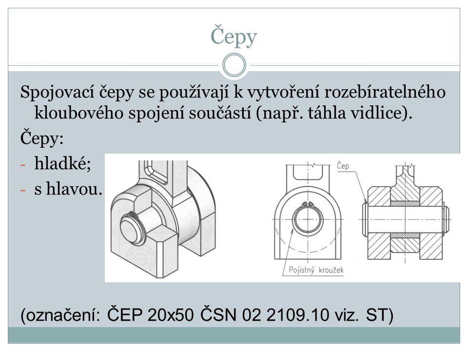 Čepy Spojovací čepy se používají k vytvoření rozebíratelného kloubového spojení součástí (např. táhla vidlice). Čepy: - hladké; - s hlavou. (označení: