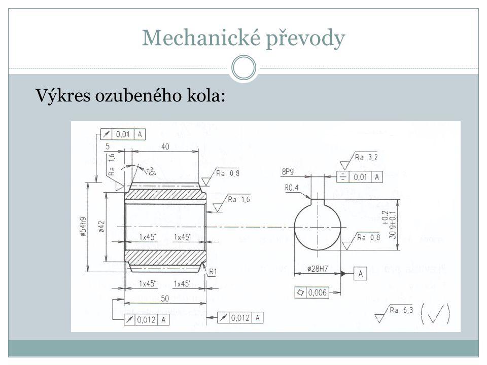 Mechanické převody Výkres ozubeného kola: