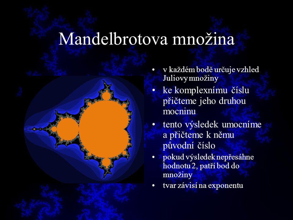 Mandelbrotova množina v každém bodě určuje vzhled Juliovy množiny ke komplexnímu číslu přičteme jeho druhou mocninu tento výsledek umocníme a přičteme
