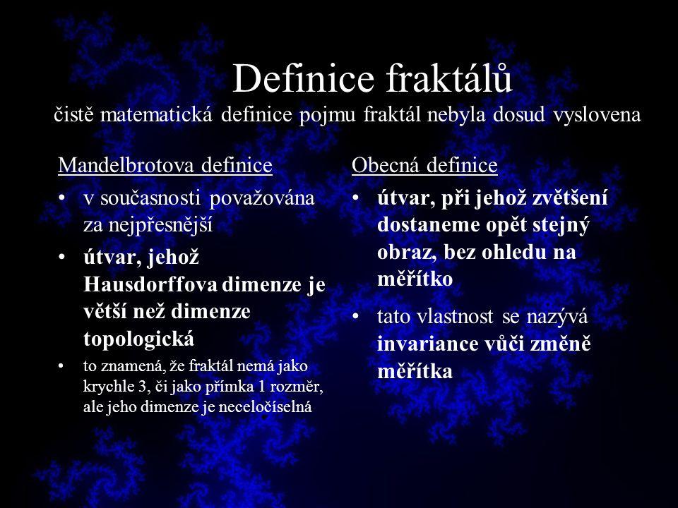 Definice fraktálů Mandelbrotova definice v současnosti považována za nejpřesnější útvar, jehož Hausdorffova dimenze je větší než dimenze topologická t