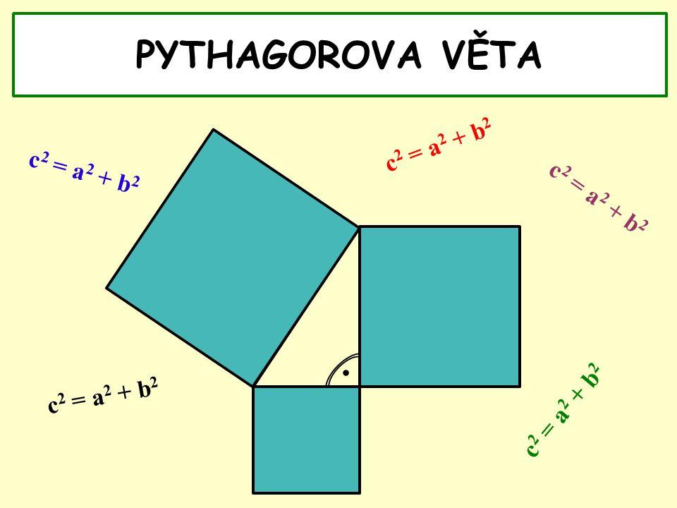 PYTHAGOROVA VĚTA. c 2 = a 2 + b 2