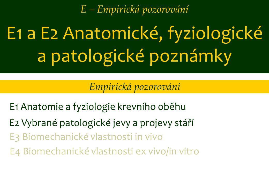 E1 a E2 Anatomické, fyziologické a patologické poznámky E1 Anatomie a fyziologie krevního oběhu E2 Vybrané patologické jevy a projevy stáří E3 Biomech