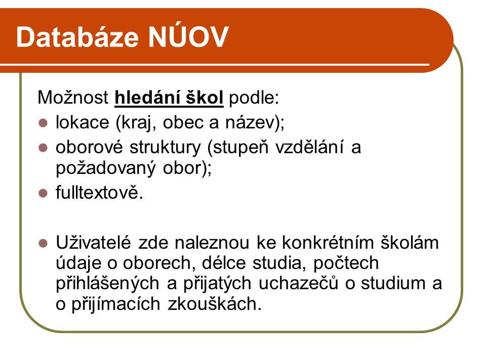 Adresář škol ÚIV http://founder.uiv.cz/registr/vybskolr.asp