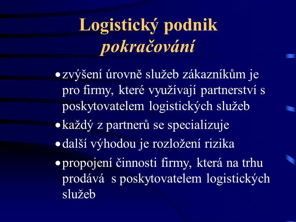 Logistický podnik pokračování  zvýšení úrovně služeb zákazníkům je pro firmy, které využívají partnerství s poskytovatelem logistických služeb  každ