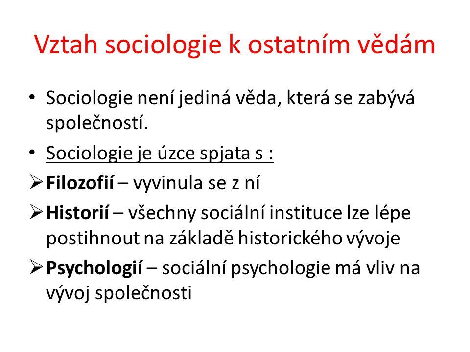 Vztah sociologie k ostatním vědám Sociologie není jediná věda, která se zabývá společností. Sociologie je úzce spjata s :  Filozofií – vyvinula se z